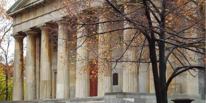 the building of the second bank of america during late autumn