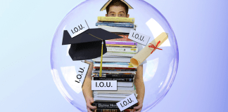 Man carrying books with Subsidized vs. Unsubsidized Student Loans for College