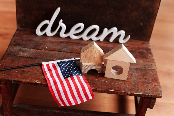 House Toy Wood Blocks with USA Flag and the dream word to promote Embrace Home Loans