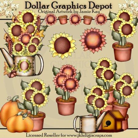 fall sunflowers - clip art 1.00