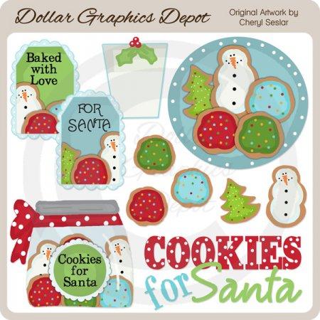 santa loves cookies - clip art