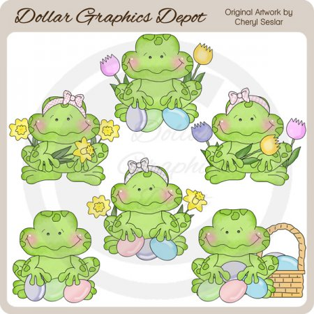 happy frogs - easter clip art