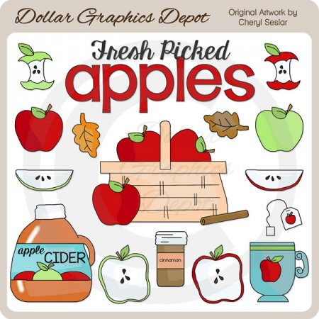 autumn apples - clip art 1.00