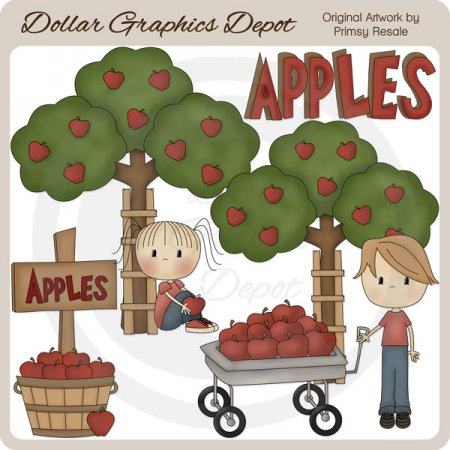 picking apples - clip art 1.00