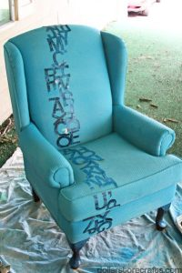 How I Painted a Chair Blue with Upholstery Paint  Dollar ...