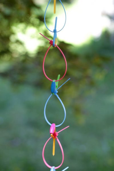 neon zip ties rain chain