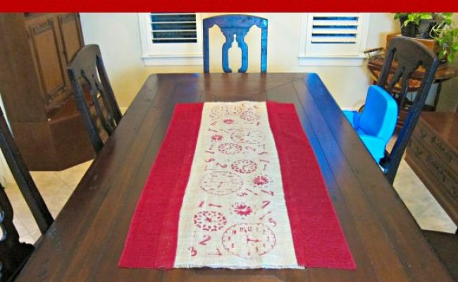 Diy No Sew Stenciled Burlap Table Runner Dollar Store Crafts