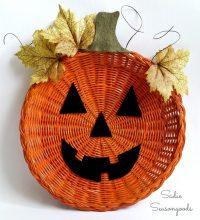 Make a Paper Plate Holder Jack-o-Lantern  Dollar Store Crafts