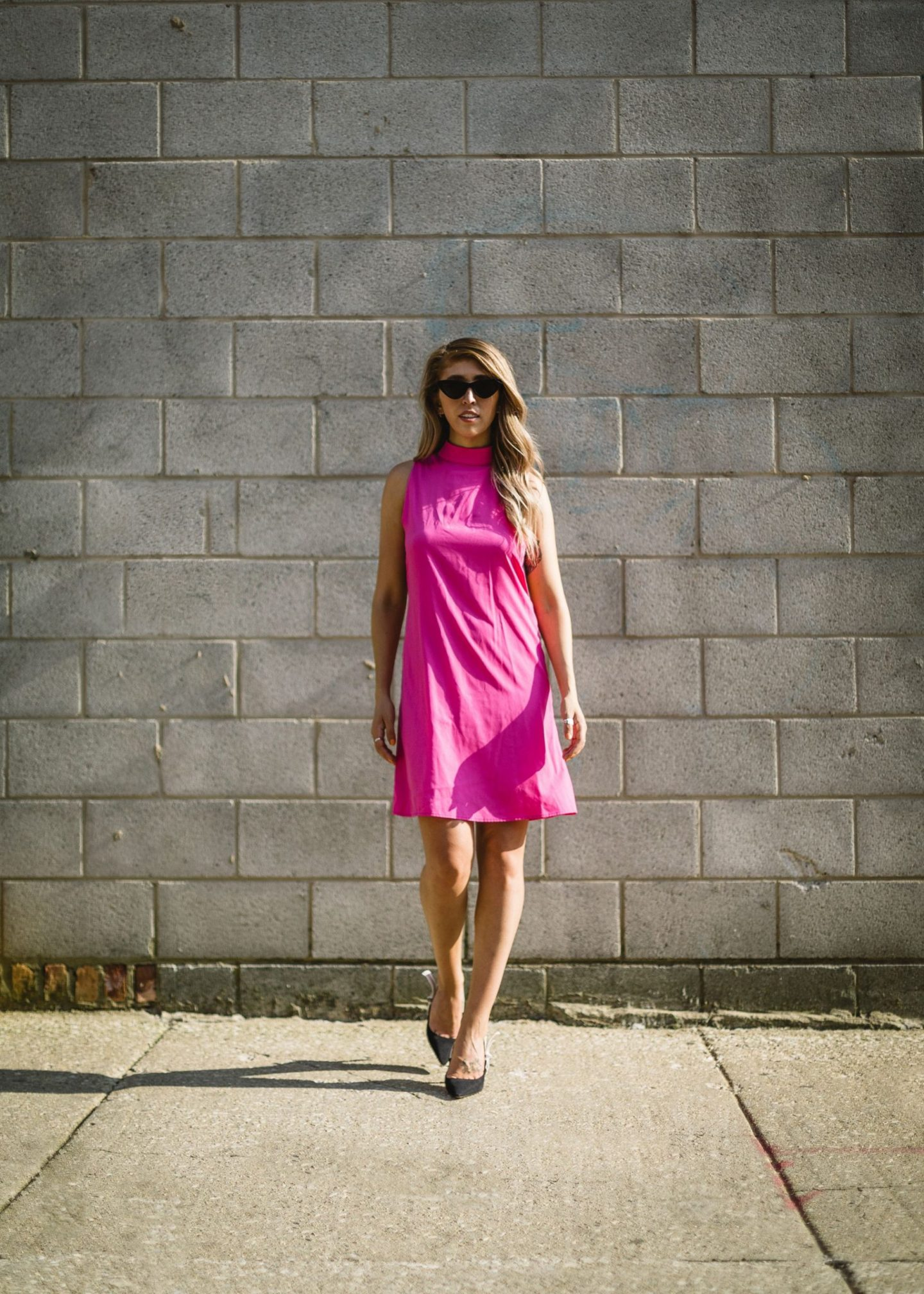 walking forward in a pink dress Jessa