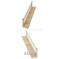 Dollhouse Staircase Straight Stair Case With Left Right Hand Rail   Pre Assembled Stair Railing   Deckorators   Balusters   Pressure Treated   Stainless Steel   Wood