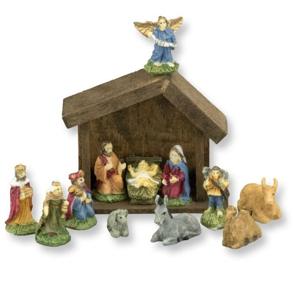 Dollhouse Miniature 12 Piece Nativity Set With Wood Manger