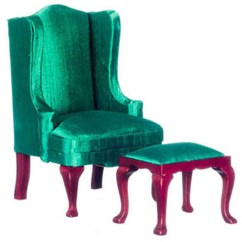 Queen Anne Wing Chair Folding Bed Dollhouse Miniature Stool In Green
