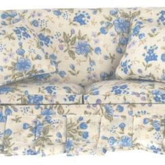 Robinson And Leather Sofa White Contemporary Blue Floral W/two Pillows By Town Square Miniatures ...