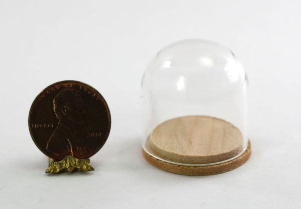 Dollhouse Miniature Large Glass Dome Display Case With Wood Base
