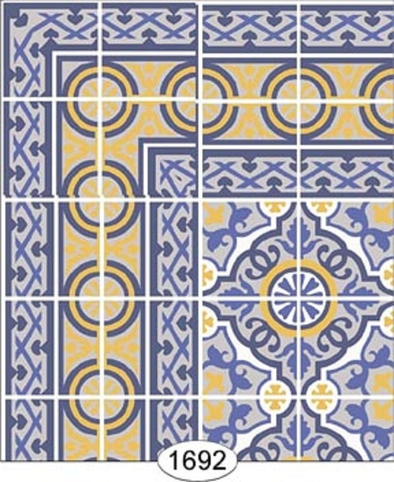 wallpaper decorative floor tile blue and yellow 1692