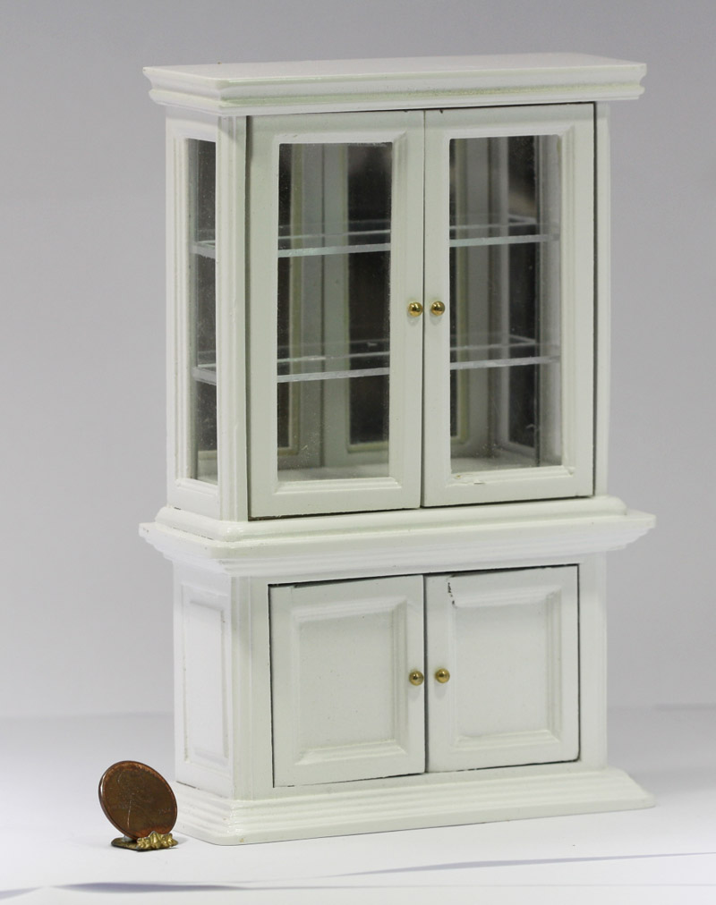 White Curio Cabinet with Working Doors  Dollhouses and More