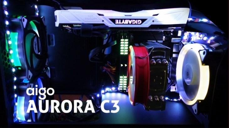 専用コントローラで多彩に光る!aigo AURORA C3ファンでライティングPC完成です