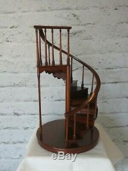 Maitland Smith Mahogany Spiral Staircase Miniature Doll House | Used Spiral Staircase For Sale | Vertical | Exterior | Contemporary | Wrought Iron | Curved