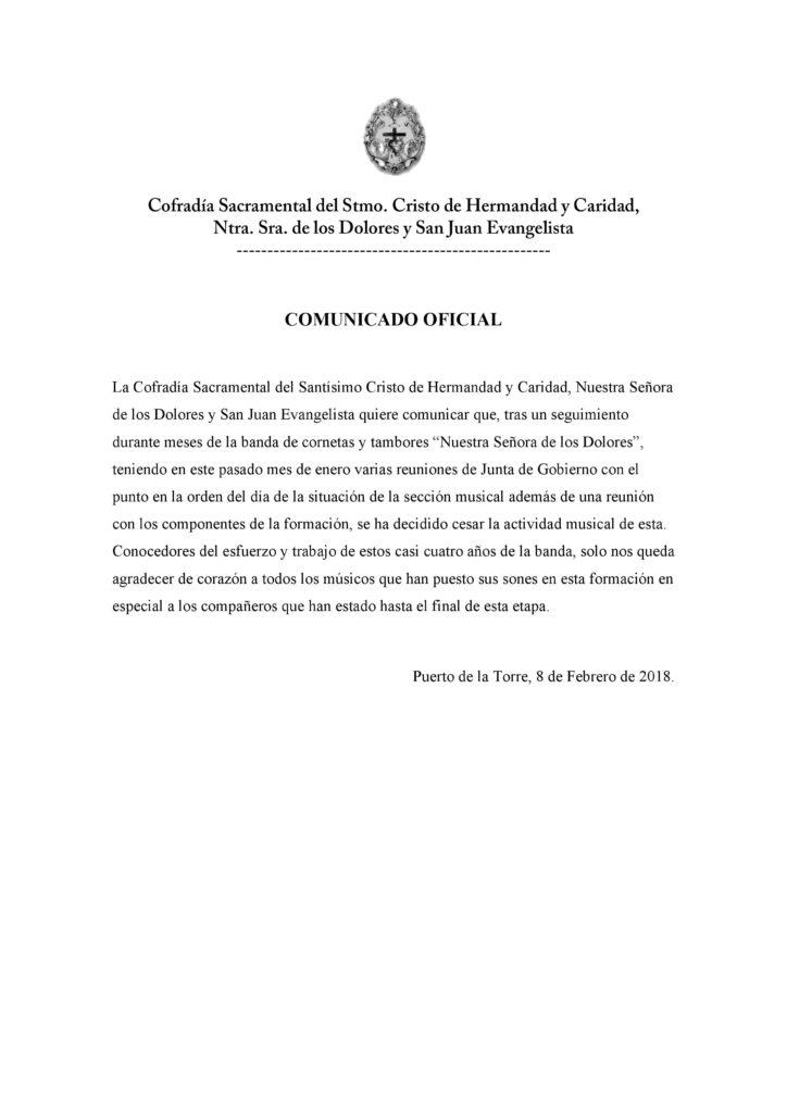Comunicado oficial sobre la situación de nuestra banda de CCyTT