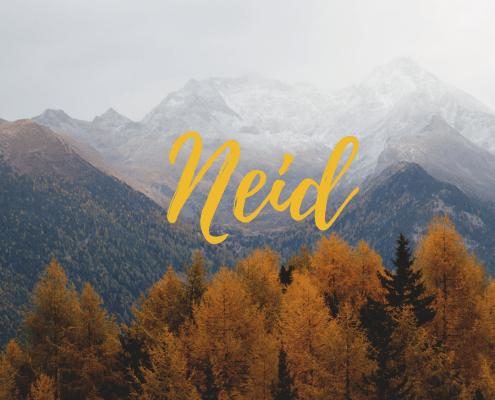 Neid Schriftzug vor Herbstgebirge