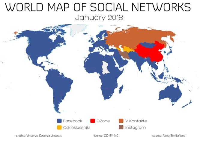 خريطة توضح الانتشار العالمي لفيسبوك