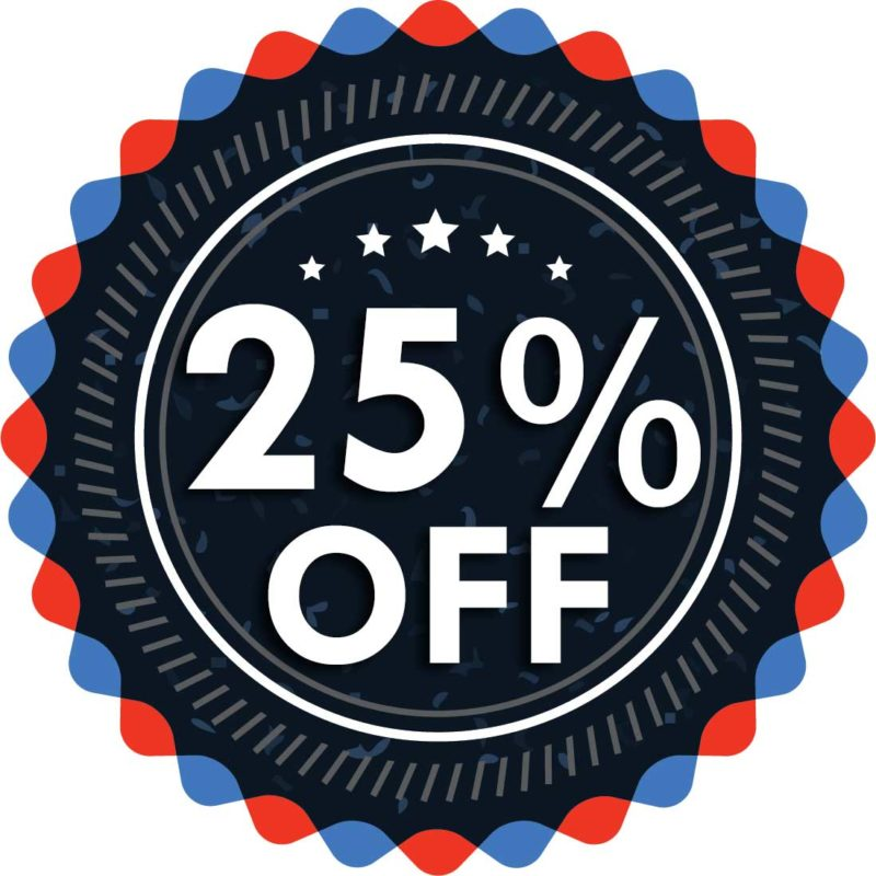 25% discount for all sales!