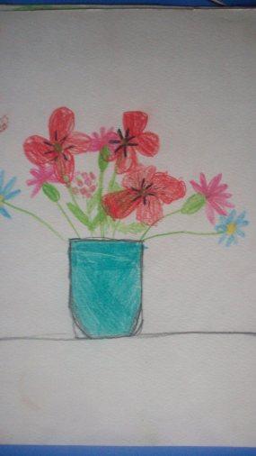 """Букет цветов""- с натуры, 7 лет"