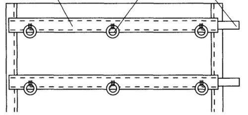 Расположение реек и колец на римской шторе