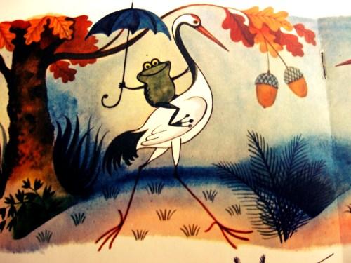 Цапля с лягушкой под зонтиком