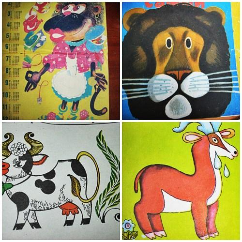 Коллаж мартышка, лев, корова, олень