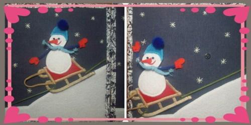 Коллаж снеговик с горки