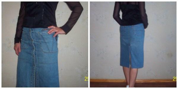 юбка джинсовая из сарафана