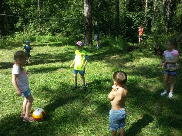 Малыши играют в мяч