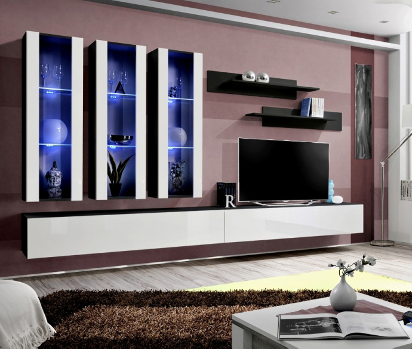 Idea E4 Modern Tv Wall Unit Entertainment Center Cabinet Media Tv Stand Ebay