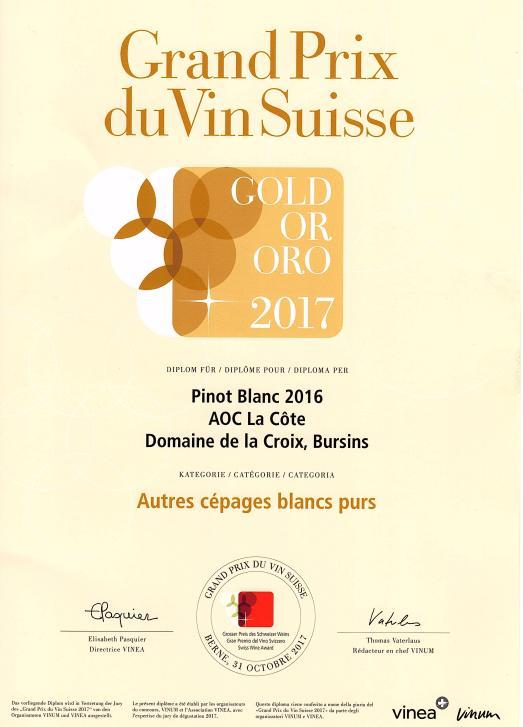 Grand prix du Vin Suisse Pinot Blanc médaille d'or