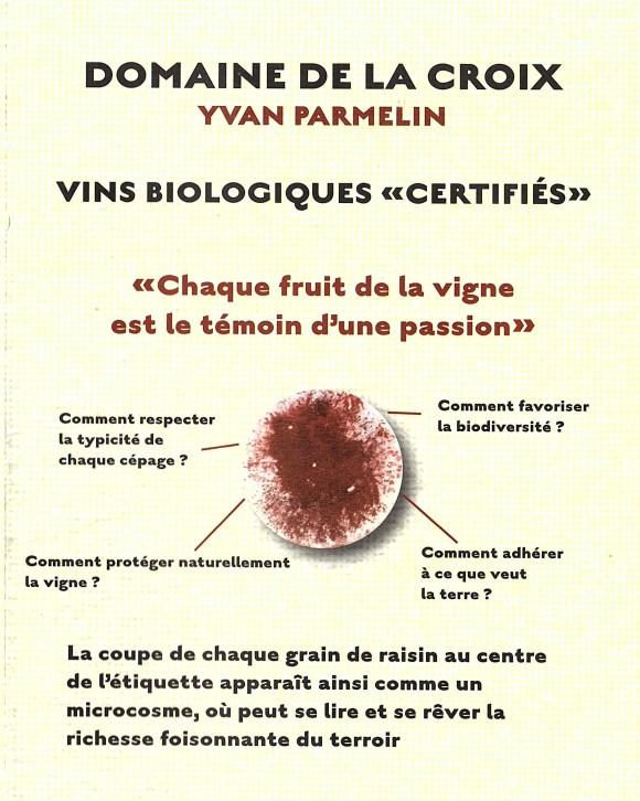 Flyer domaine de la croix vin biologique certifié