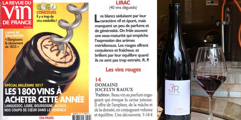 Belle note pour le lirac rouge du Domaine Jocelyn Raoux dans la Revue des Vins de France Juin 2018