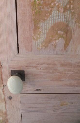 Wallpapered Door Mudroom