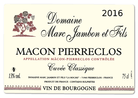 Domaine Marc JAMBON et Fils - Mâcon-Pierreclos rouge 2016 cuvée Classique