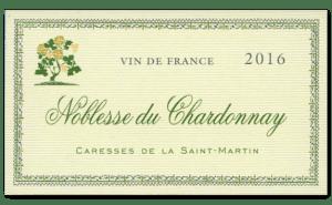"""Etiquette Vin de France Cuvée Noblesse du Chardonnay """"Caresses de la Saint-Martin"""" anciennement Vendange de la Saint-Martin"""