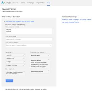 Google Keyword Planner 1