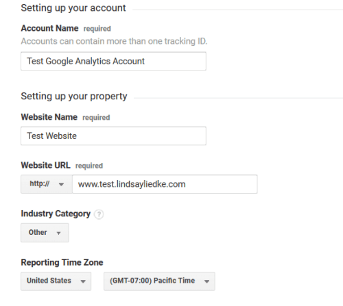Google Analytics - Sign Up - Account Info