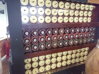 A replica of the Bombe, an electromechanical device used by British cryptologists to help decipher German Enigma-machine-encrypted secret messages during World War II.