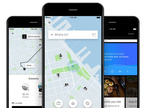 Graphic of Uber app
