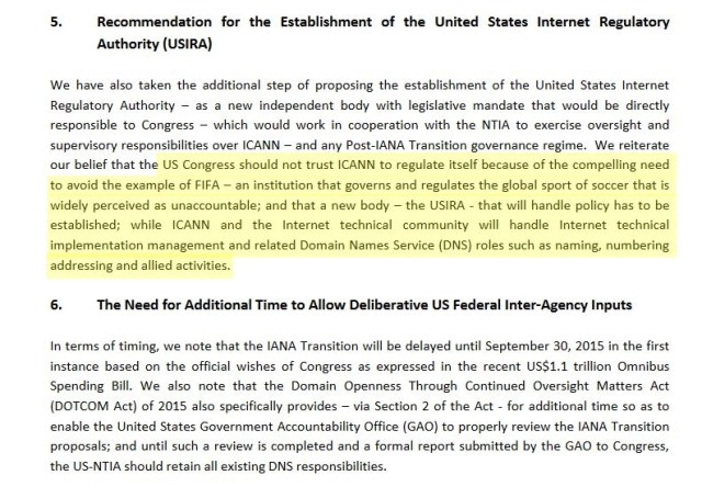 DCA letter to Congress Screen Shot