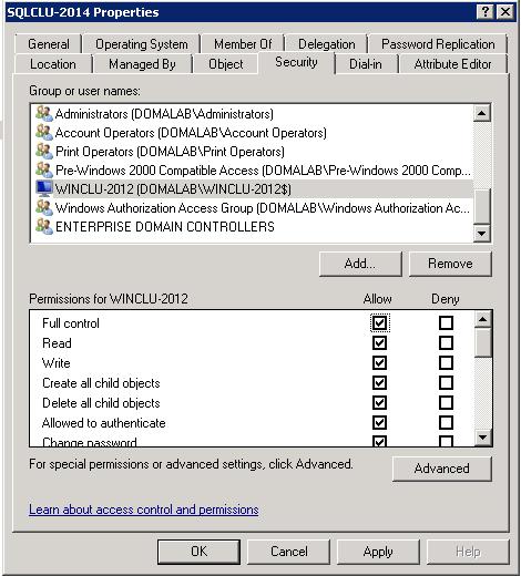 domalab.com install clustered SQL AD permissions
