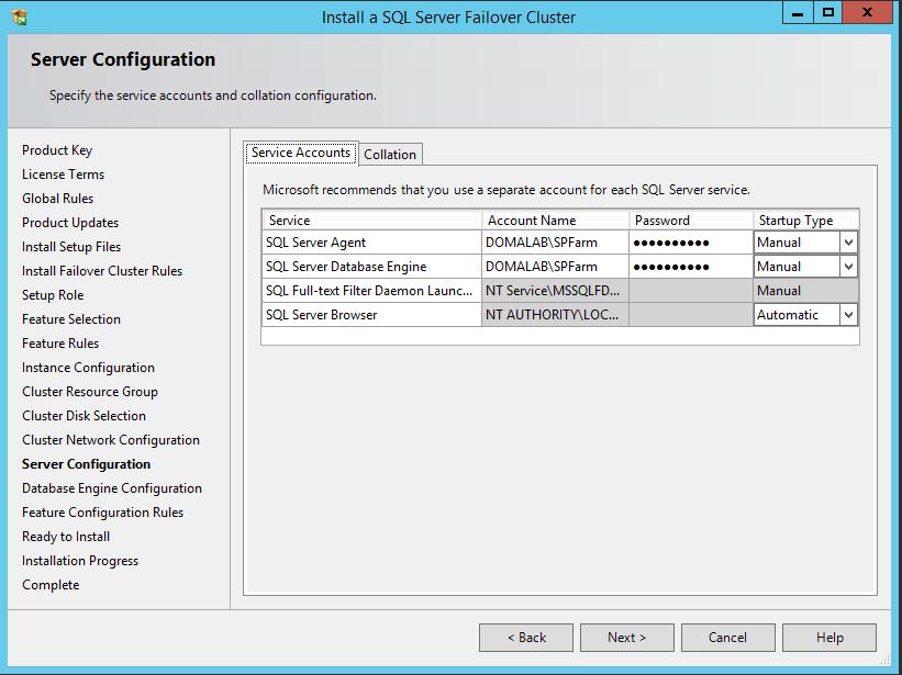 domalab.com SQL first node server configuration
