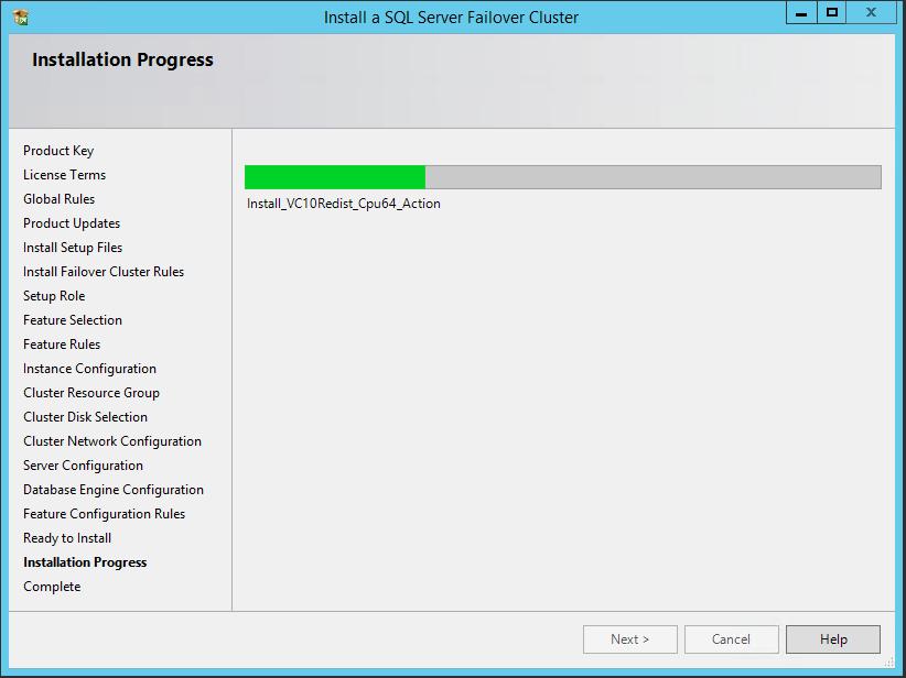 domalab.com SQL first node installation progress