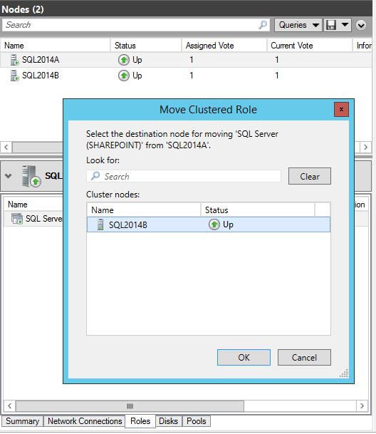 domalab.com SQL second node move clustered role