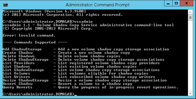 domalab.com Configure VSS command list